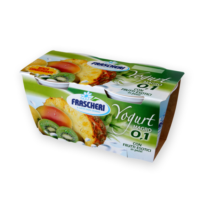 Low fat yogurt with exotic fruits Frascheri