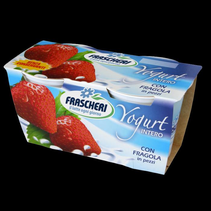 Yogurt intero alla frutta con fragole