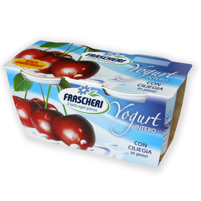 Full fat yogurt with cherries in pieces